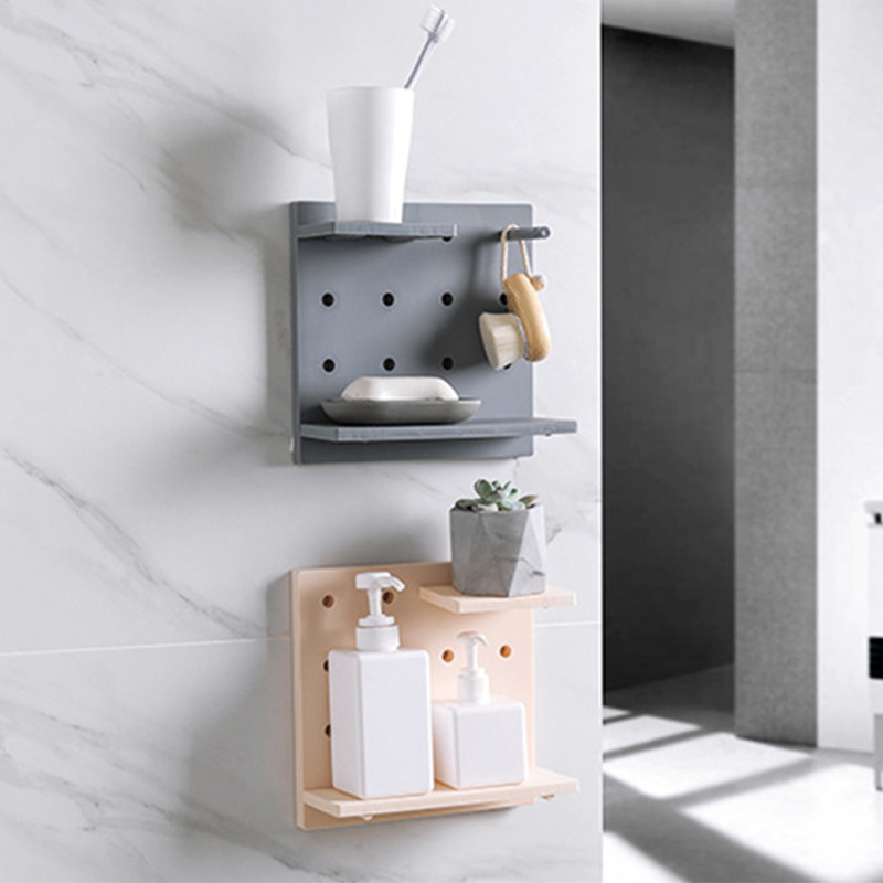 Punch-free Wall Bathroom Shelf Toilet Bathroom Vanity Wall Hanging Storage Rack Cosmetics Organizer Rack Bathroom Accessories