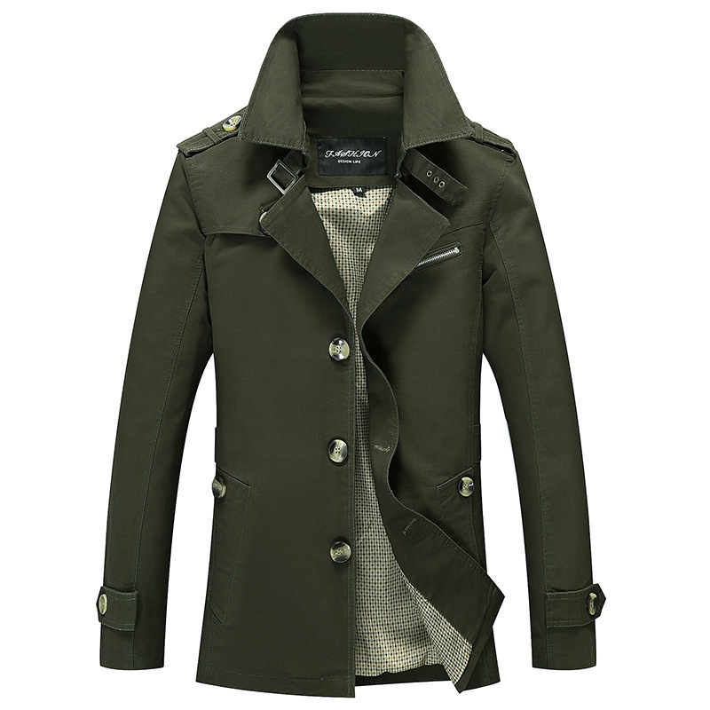 Autumn and winter new 2021 men's large fashion solid color medium length jacket men's youth