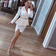 فستان مثير أبيض قصير  أكمام طويلة