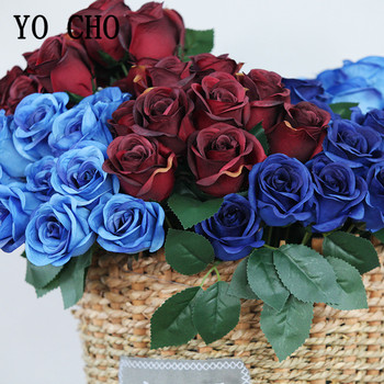 12 Heads Artificial Flowers Rose Bouquet Royal Blue Small Roses Fake Flower Bouquet For Wedding Party Home Decor Silk Flowers