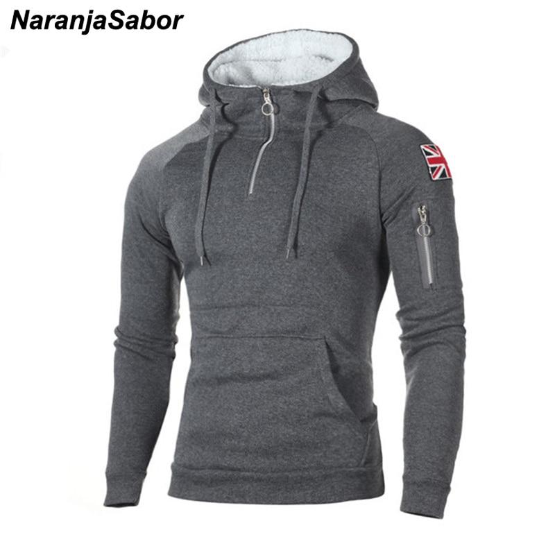 NaranjaSabor Men's Zipper Hoodies Casual Sweatshirt Mens Autumn Fasion Hooded Thick Hoodies Hip Hop Male Brand Clothing N624