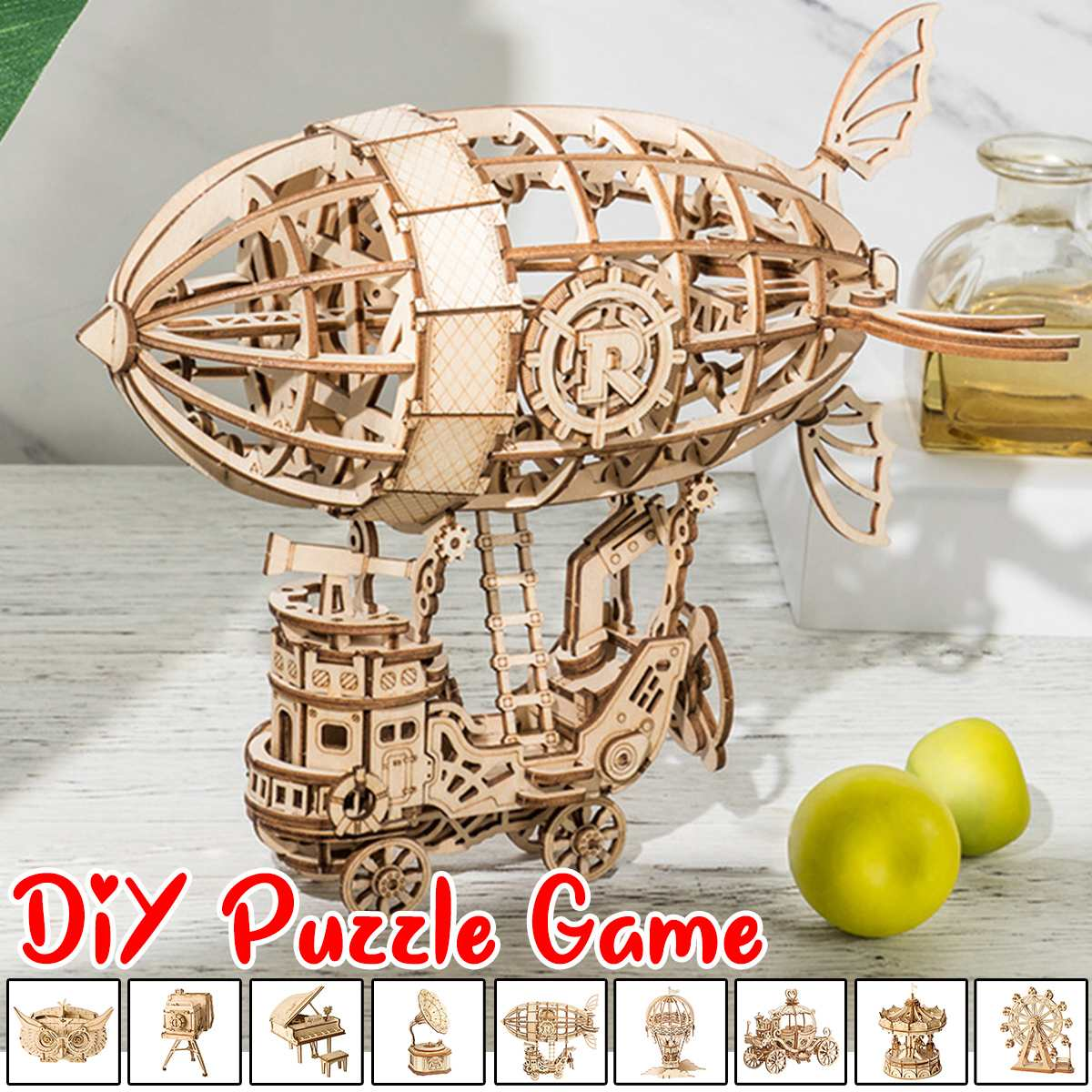 DIY 3D Wooden Puzzle Game Wooden Puzzle Gramophone Box,Pumpkin Cart Wooden Puzzle Game Assembly Popular Toy Gift