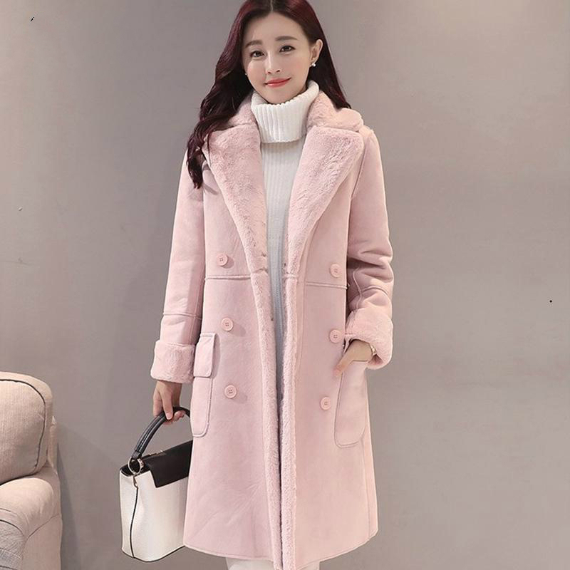 Fur Winter Coat Gifts For Women Fashion Thick Faux Sheepskin Long Jacket Overcoat Female Solid Warm Trench Coats For Fast Shipp