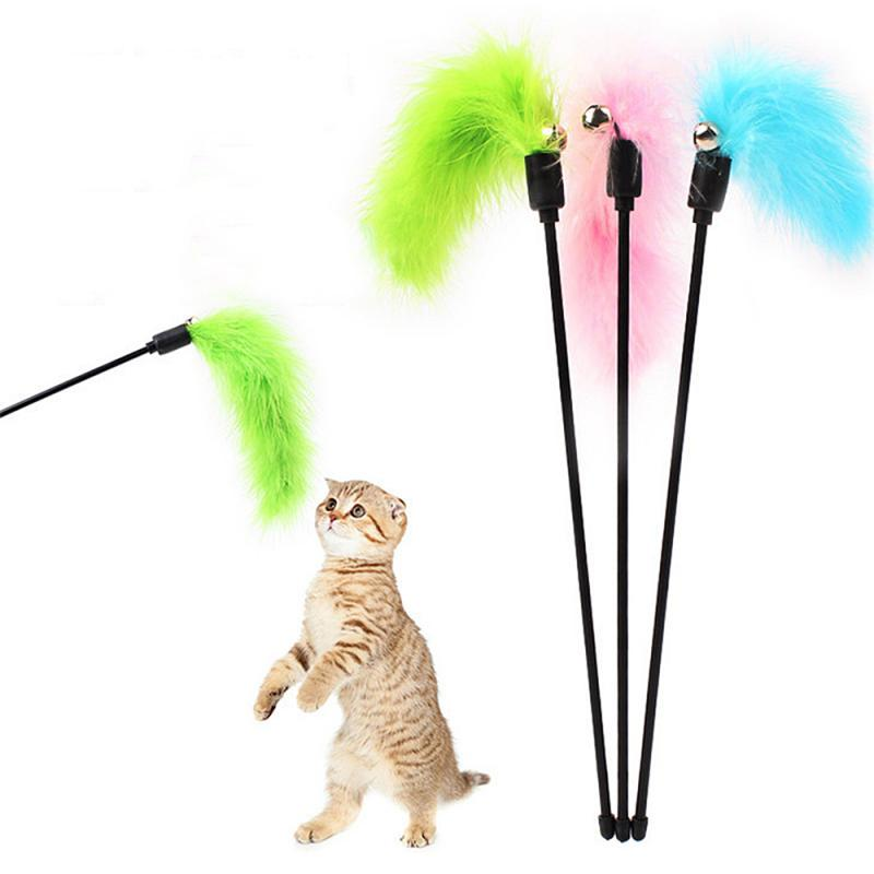 1pc Creative Cat Toys Soft Colorful Feather Bell Rod Toy Funny Interactive Stick Toy Pet Tool Cat Supplies Random Color Hot Sale