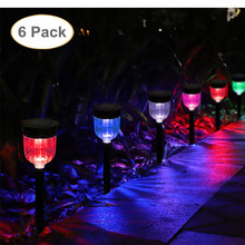 6pcs/lot LED Solar Lawn Light Colorful Ground Landscape Lamp for Garden Decor Outdoor Waterproof IP65 Bollard Solar Stick Lights