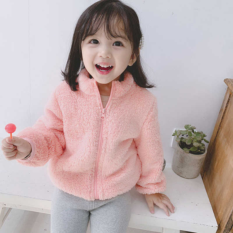 2020 Winter New Girls Plush Warm Coat Fleece Warm Jacket Snowsuit 1-5Y Baby Coat Kid Solid Color Round Neck Outerwear Clothes