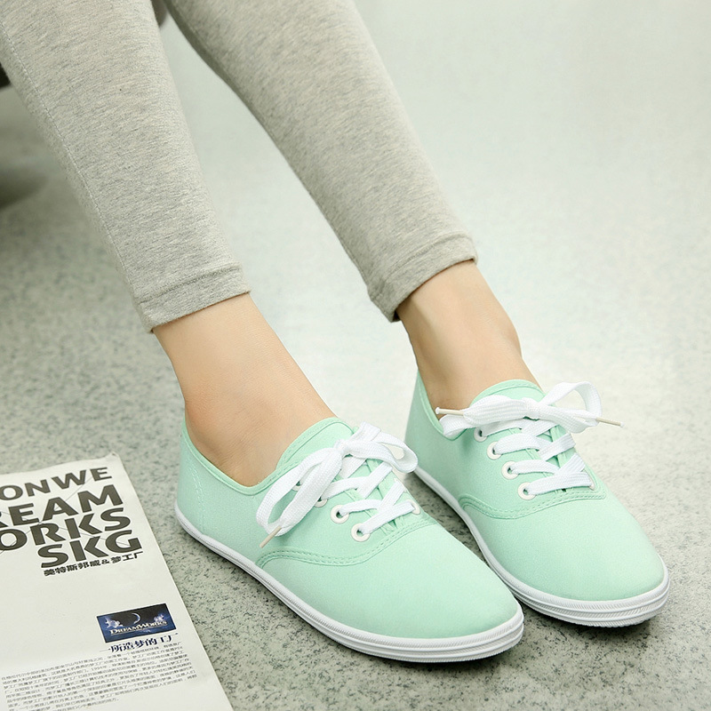 Woman Shoes Canvas White Sneakers Casual Fashion Solid Color Flats Breathable For Woman