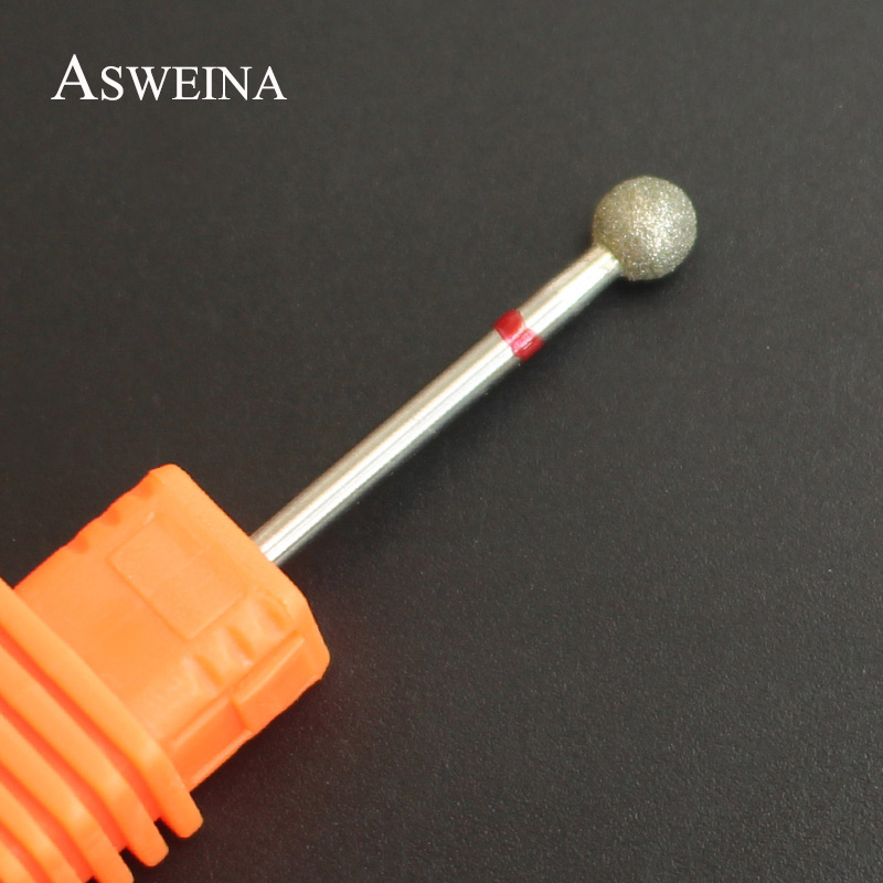 ASWEINA 5.0mm Diamond Ball Nail Drill Bit Rotary Burr Cuticle Clean Bit For Electric Manicure Drill Accessory Nail Beauty Tools