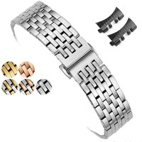 Correa de reloj de acero inoxidable para hombre, pulsera de reloj mecánica de cuarzo con 7 Cuentas de 12-24mm con cierre de mariposa