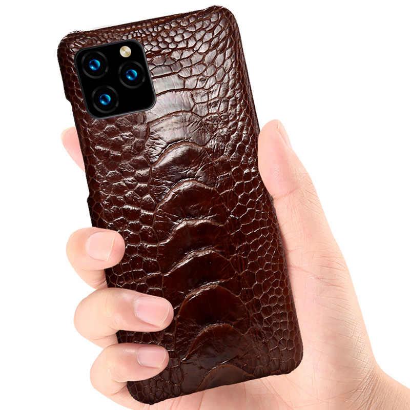 Genuíno pé de avestruz couro caso do telefone para apple iphone 11pro 11 pro max x xs max xr 6s 8 7 plus 5 5S se 2020 luxo capa