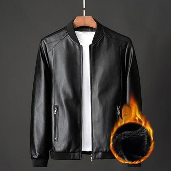 Chaqueta de cuero auténtico para hombre de abrigo de invierno para motocicleta...