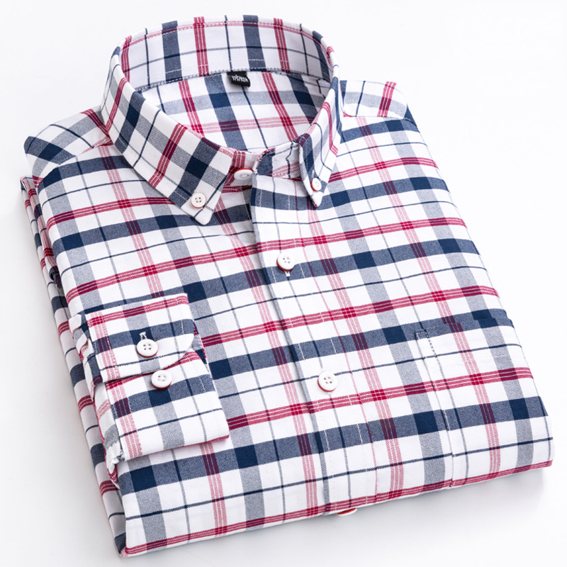 Men's Casual Long Sleeve Checkered Dress Shirts Standard-fit Comfortable Soft 100% Cotton Button-down Plaid Striped Tops Shirt