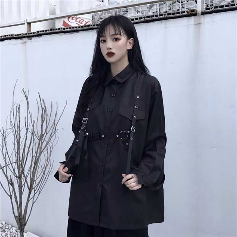 NiceMix 2019 Dark Style Black Solid Shirt Female With Sashes Single Breasted Lapel Blouse Women Loose Casual New Tide