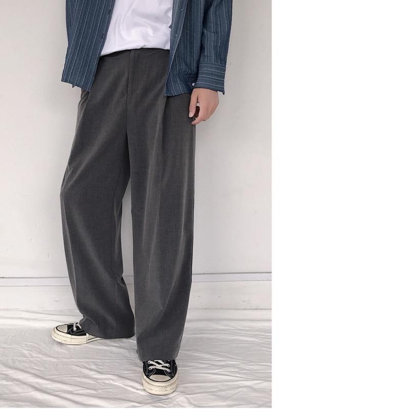 Image 5 - 2019 весна и осень новый тренд личности дикие повседневные  японские Ретро свободные широкие брюки черный серый/армейский зеленый M  2XL