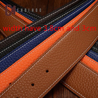 Luxury No Buckle Belt Brand H Belt Men High Quality Male Genuine Real Leather Strap Jeans Litchi grain Belt Cinturones Hombre
