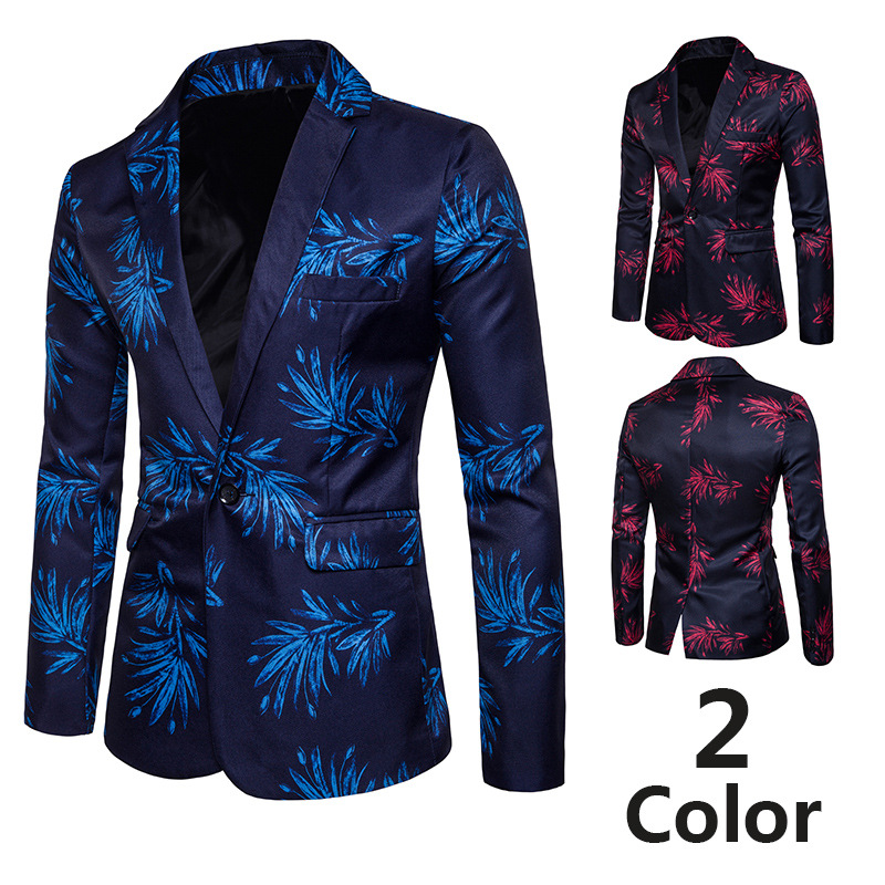 Men's Spring And Autumn New Style One-Button Suit Men's Korean-style Hong Lan Hua Digital Printed Fold-down Collar Suit