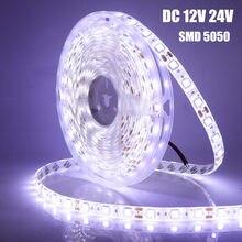 Tira de luces Led RGB 5050 DC12V/24V, 60leds/m IP21 IP65, resistente al agua, luz blanca/blanca cálida/roja/azul/verde, cinta Flexible, 5m