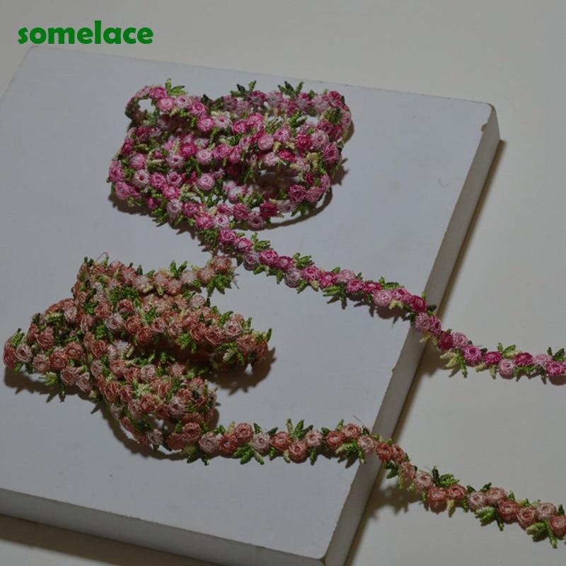 (5-10 лет в партии) 1,5 см, широкая Роза ~ розовый смешанный цветочный высокое качество Venise кружева DIY ручной работы кружева аксессуары текстиль ...