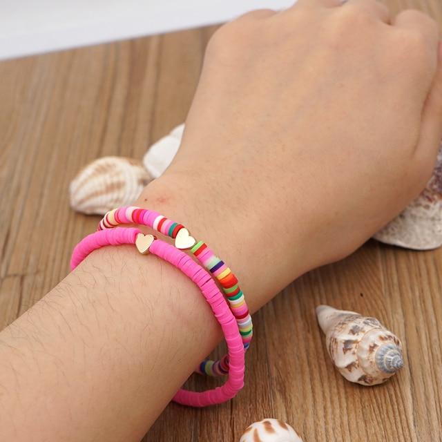 Go2Boho Heart Charm Bracelets Polymer Clay Bracelet For Female Summer Heishi Disc 4mm Beaded Braclets Women 2021 Fashion Jewelry 5