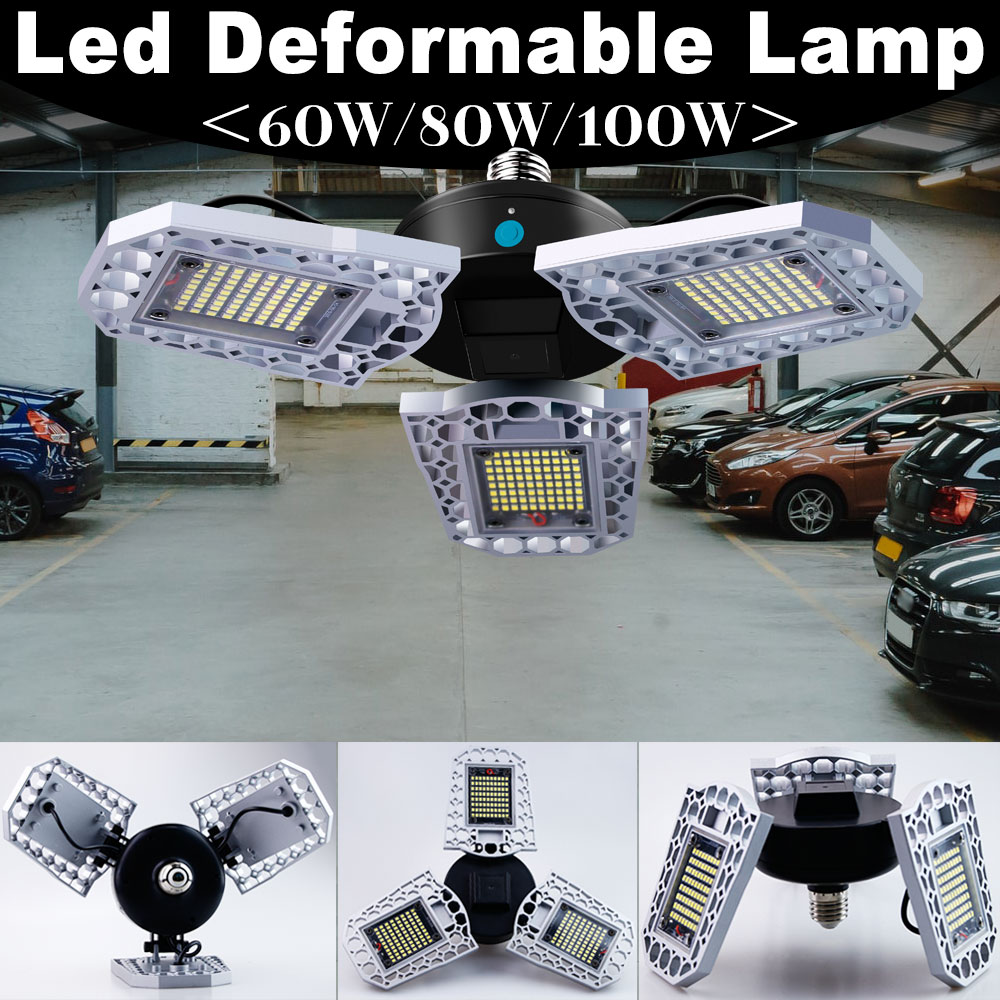 E26 Led Garage Lamp UFO Deformable Lamp Industrial Light E27 Led High Bay Light 220V 60W 80W 100W Workshop Warehouse Bulb 110V