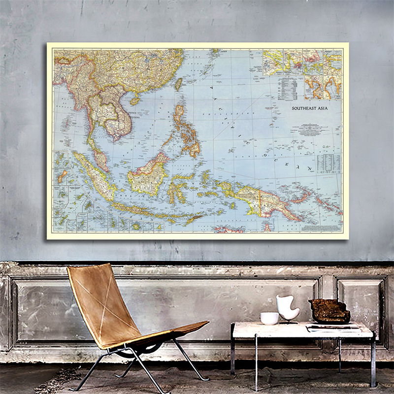 Southeast Asia 1944 Detailed Poster Map Of World 90*60cm Horizontal World Map Wall Paper Kraft Paper Painting Office Supplies