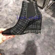 2020 lovestahl frauen top qualität Woolen genäht leder flache keil ferse stiefel 8,0 cm