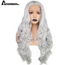 Peluca con malla frontal Anogol gris, blanco, plateado, sintética, cuerpo largo, onda gris, pelucas para mujer, fibra de alta temperatura