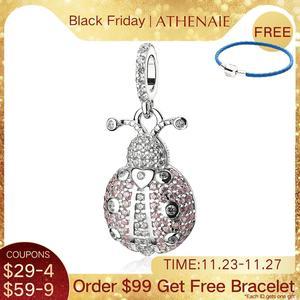 Image 1 - Athenaie na moda 925 prata esterlina claro cz sorte rosa joaninha pingente encantos ajuste feminino pulseira colar jóias diy wihite