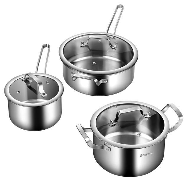 6 Piece Stainless Steel Cookware Set Nonstick Pot And Pans w/ Glass Lids Silver KC52001 6