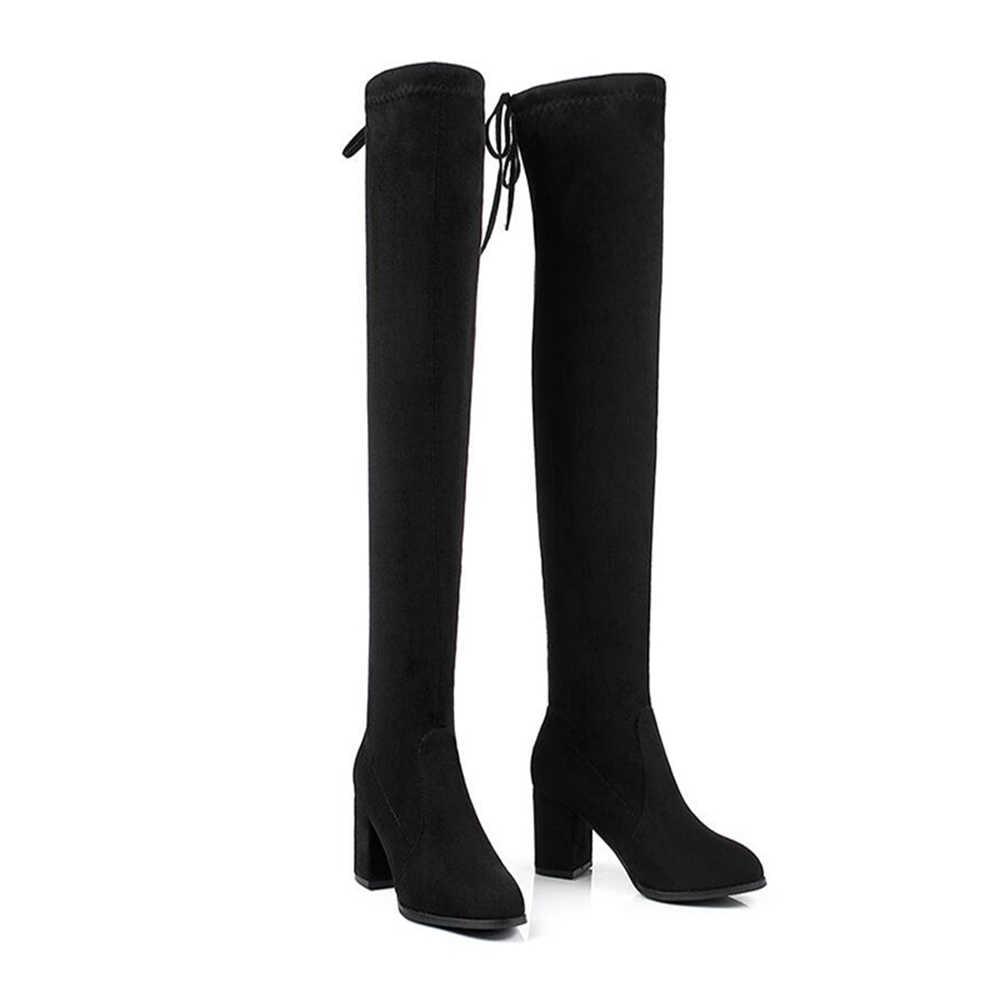 Warme Winter Over De Knie Laarzen Vrouwen Suede Stretch Stof Dij Hoge Schoenen Lange Bota Feminina Zapatos De Mujer