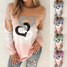 T Shirt kadın moda O boyun gevşek kalpler baskı uzun kollu üstleri degrade Ropa Mujer Camisetas üst kadın Harajuku T Shirt camisas