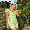 ALLNeon 2000s Ästhetik Süße Platz Kragen Grün Kleider Y2K Mode Nette Puff Sleeve A-line Kleid Vintage Outfits Streetwear