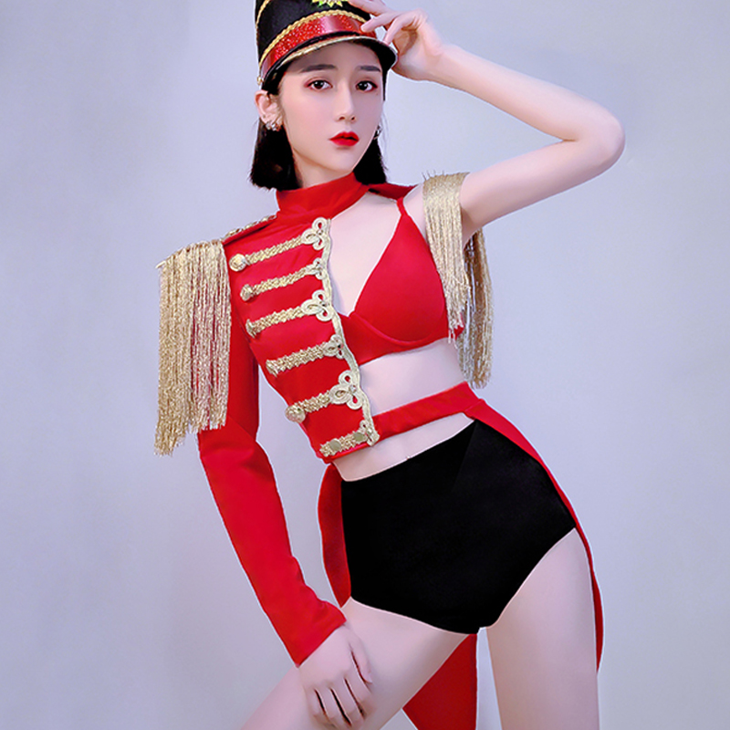 New Dance Costume <font><b>Women</b></font> Cosplay Military Uniform Red Suit <font><b>Festival</b></font> <font><b>Outfit</b></font> GoGo Dance Bar Party Rave Stage Costume BL1904 image