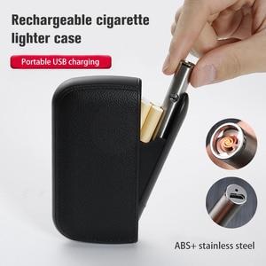 Image 2 - עור מפוצל קופסא סיגריות תיבת עם נייד Usb טעינת מצית 10pcs סיגריות אחסון מחזיק מיכל טורבו חשמלי מצית