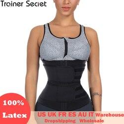 TRAINER SECRET Double Belt 100% Latex Waist Trainer Body Shapers Fitness Waist Trainer Zipper Shapewear Slimming Belt