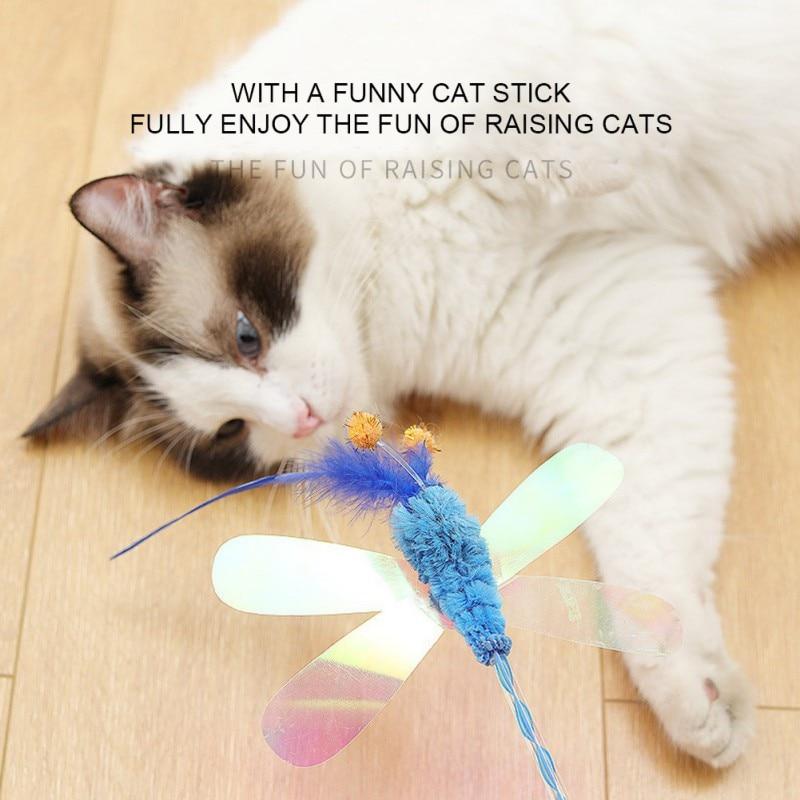 Kucing Mainan Dengan Payet Mewah Kupu Kupu Capung Bulu Kucing Lucu Stick Puzzle Interaksi Menarik Kucing Perhatian Mainan Mainan Kucing Aliexpress