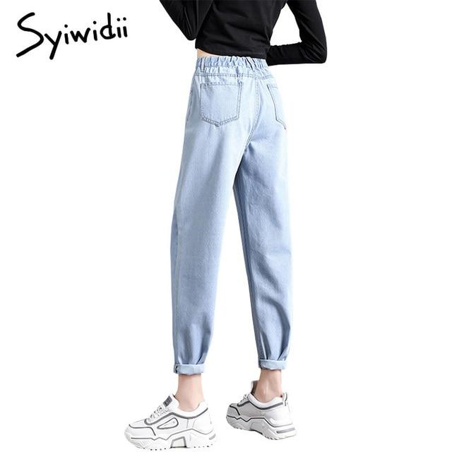 elastic waist black jeans korean fashion   6