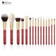DUcare 15 sztuk naturalne kozie układanie włosów zestaw pędzelków profesjonalne piękno pędzel do makijażu fundacja Powder pędzel do cieni do powiek