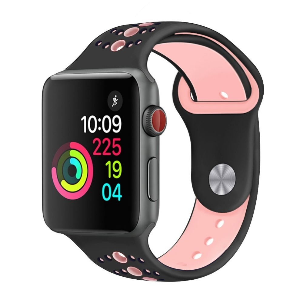 Sport silicone strap for Apple watch band 42mm 38mm 44mm 40mm correa iwatch 3 2 1 bracelet wrist Apple Watch 4 Accessories in Watchbands from Watches
