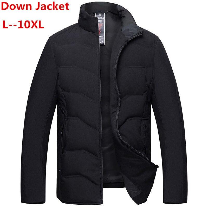 8XL 7XL Winter Duck Down Jacket Men 90% Down Content Thin Ultra Light Down Jacket Winter Long Sleeve Solid Winter Coats Pocket