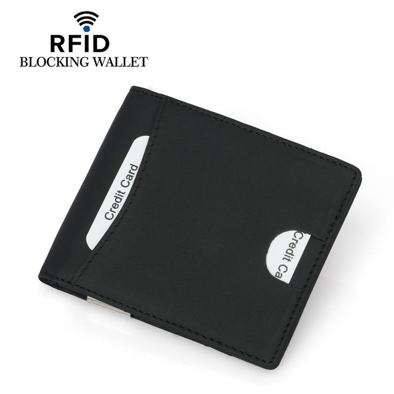 New Cowhide ID Credit Card Holder Bifold Wallet Money Coin Purse with RFID Blocking Business Genuine Leather Card Holder in Card ID Holders from Luggage Bags