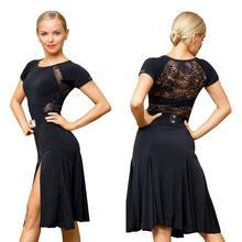 Серия SuperStar: G3044 профессиональное кружевное платье с разрезом по бокам для латиноамериканских бальных танцев (ремень в комплект не входит)