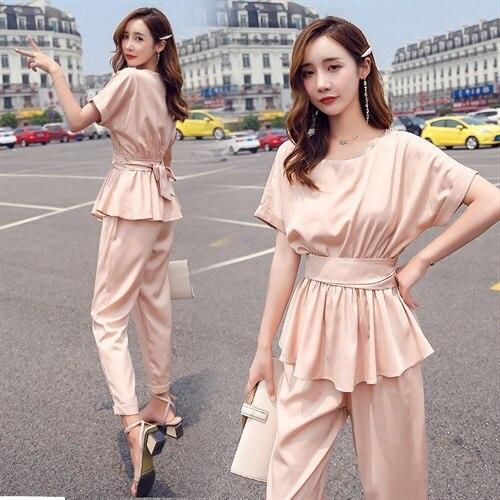 Fashionable WOMEN'S Suit Summer 2019 Online Celebrity Korean-style Waist Hugging Tops Two-Piece Set Western Style Harem Pants Ro