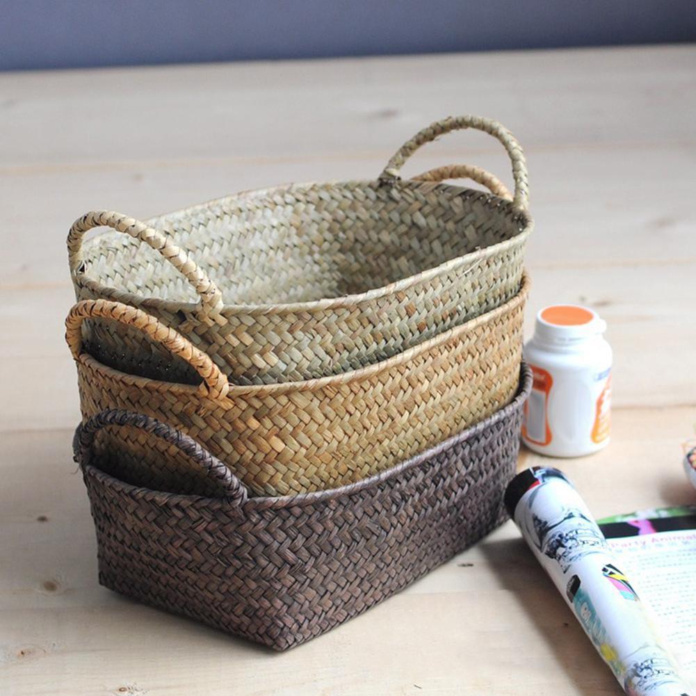 Hot Handmade DIY Straw Flower Pot Basket Fruit Sundries Organizer Rattan Plant Box