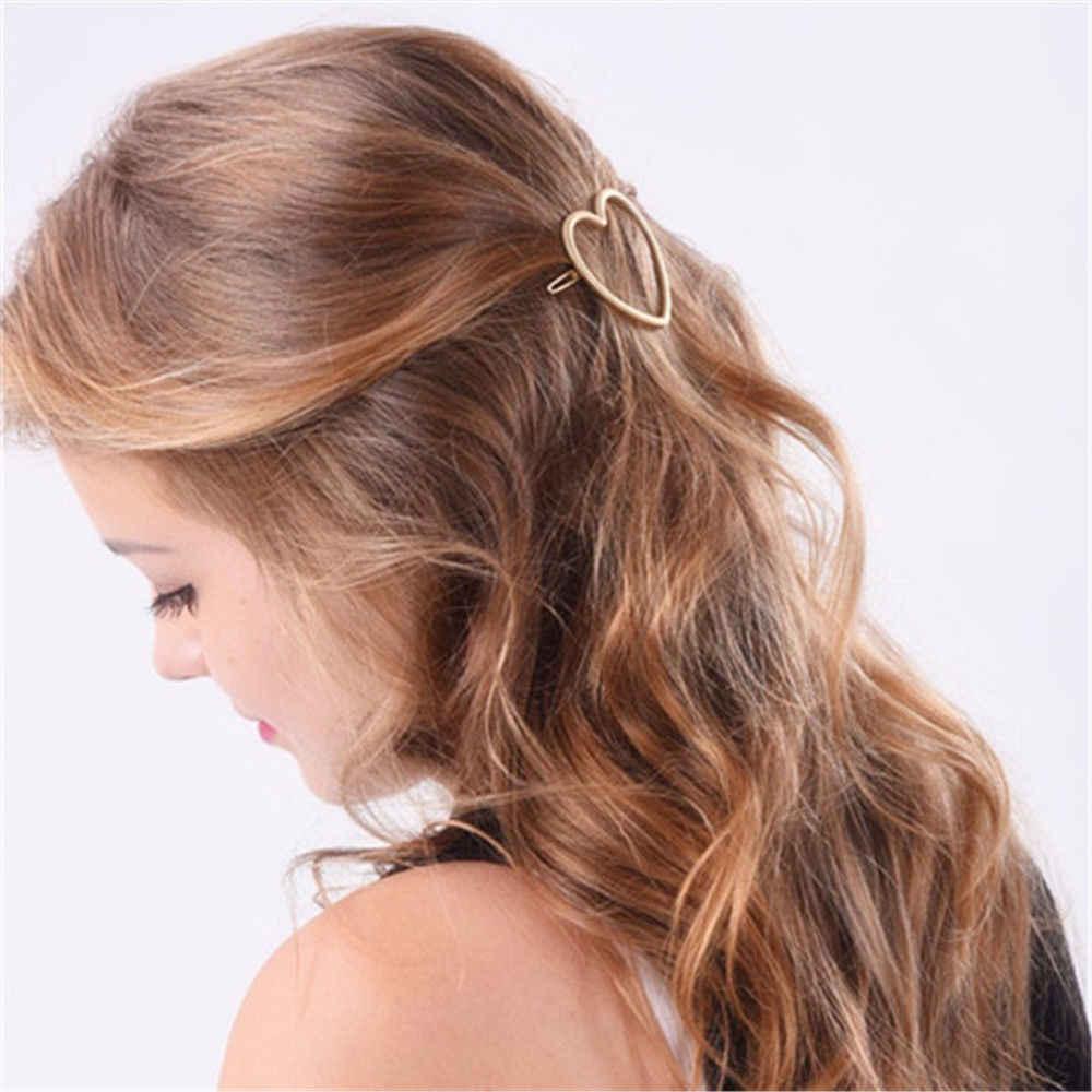 2020 moda geométrica estrela amor feminino grampo de cabelo meninas snap cabelo barrette vara hairpin estilo de cabelo acessórios para meninas