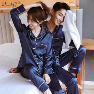 Image 1 - Новинка, пижамный комплект для пар, длинная и короткая Пижама на пуговицах, костюм для женщин и мужчин, домашняя одежда, Женский пижамный комплект