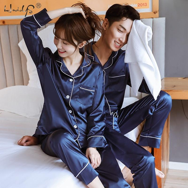 New Couple Sleepwear Silk Satin Pajamas Set Long And Short Button-Down Pyjamas Suit Pijama Women Men Loungewear Plus Size Pj Set