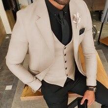 Men's Suits Tuxedos Wedding-Grooms Pants Vest Blazer Business-Jacket Slim-Fit Fashion