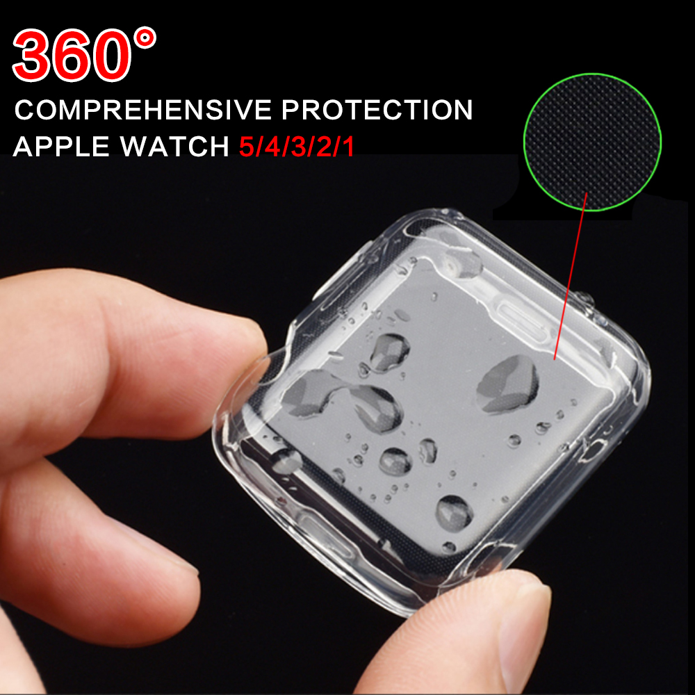 For Apple Watch 4 3 2 1 40MM 44MM 360 Built In Clear TPU Screen Protector Cover Full Case For Iwatch 5 38MM 42MM Case Accessorie