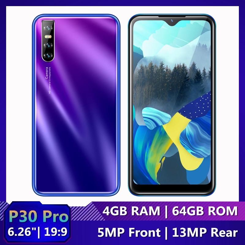 Оригинальные мобильные телефоны P30 PRO 4 ГБ ОЗУ 64 Гб ПЗУ 6,26 дюймов 19:9 Android Celulares 13MP распознавание лица разблокированные смартфоны